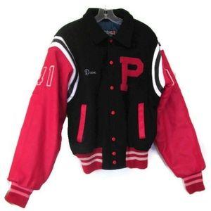 mens leather letterman black red jacket size large